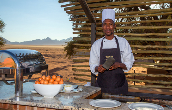 Breakfast station at Sossuvlei Lodge