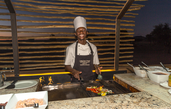 Stir-fry station at Sossusvlei Lodge