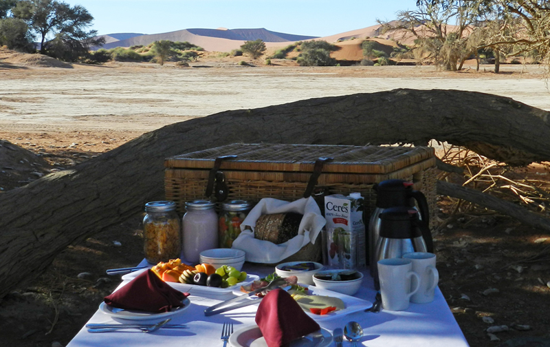 Sossusvlei Lodge Breakfast Basket option to enjoy at Sossusvlei